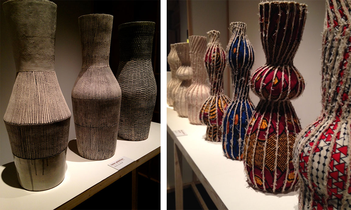 hand made vessels; one collection of ceramics and another made from various textiles
