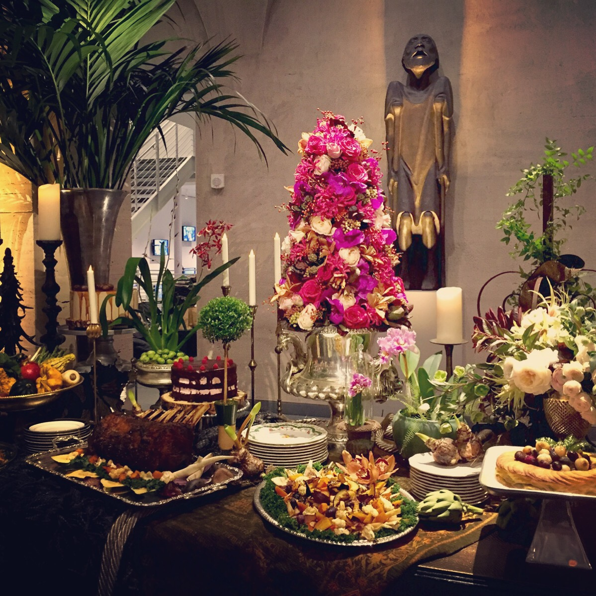 Behind the scenes at our bliss style shoot our floral topiary making a beautiful statement alongside the catered affairs gorgeous food display izmirmasajfo Gallery