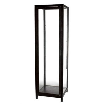 RECTANGULAR BLACK TEAK VITRINE